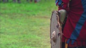 Een slag De strijd van de Vikingen middeleeuws stock footage