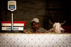 Een slager zit naast het hoofd van een geit en schalen, Katmandu, Nepal Royalty-vrije Stock Afbeeldingen