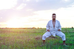 Een slanke mens is bezig geweest met karate bij zonsondergang, vrije ruimte voor u royalty-vrije stock fotografie