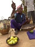 Een slechte fruitverkoper in landelijk India Royalty-vrije Stock Foto