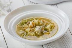 Een smakelijke soep met vlees in een kom royalty-vrije stock foto's