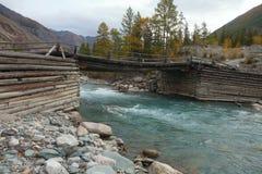 Een smalle houten brug Stock Fotografie