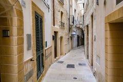Een smalle steeg in Monopoli, Puglia, Italië stock fotografie