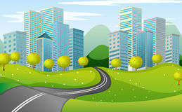 Een smalle weg in de stad royalty-vrije illustratie