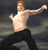 Een smerige shirtless vechter royalty-vrije illustratie