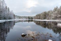 Een sneeuwlandschap die water en ijs overzien Stock Fotografie