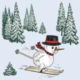 Een sneeuwman die in een net bos ski?en Royalty-vrije Stock Afbeelding