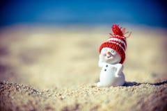 Een sneeuwman op het strand Stock Fotografie