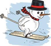 Een sneeuwman rent op skis Stock Fotografie