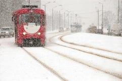 Een sneeuwval in een stad. Royalty-vrije Stock Afbeelding