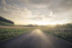Een solitaire weg Stock Foto's