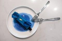 Een Soort Blauwe Cake in een Koffiewinkel in China stock afbeeldingen