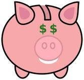 Een spaarvarken met dollarogen Stock Foto