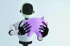 Een spaarvarken in een robotachtige hand Royalty-vrije Stock Foto's