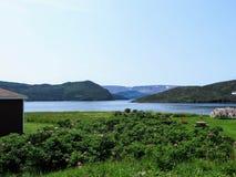 Een spectaculaire mening van Bonne-Baai weg van Norris-punt in Gros Morn stock fotografie