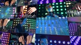 Een speelmuziek van DJ op zijn mixer bij een nachtclub vector illustratie