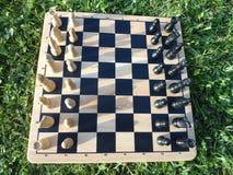 Een spel van schaak in openlucht Royalty-vrije Stock Afbeeldingen