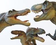 Een Spinosaur, T. Rex, een Velociraptor en een Allosaur Stock Afbeeldingen
