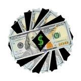 Een Spiraal van Nieuwe $100 rekeningen Stock Fotografie