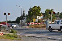 Een Spoorwegovergang in Torrellano Spanje Royalty-vrije Stock Afbeelding