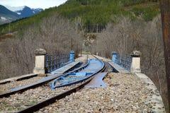 Een spoorwegverandering in een richtings niet stedelijke scène Royalty-vrije Stock Afbeelding