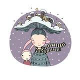 Een sprookje over een leuk beeldverhaalmeisje en een konijn De winterboek stock illustratie