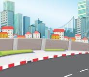 Een stad met lange gebouwen vector illustratie