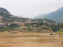 Een stad op de Rivier Yangtze Royalty-vrije Stock Foto's