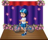 Een stadium met een mannelijke fietser die zich in het midden bevinden royalty-vrije illustratie