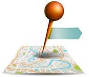 Een stadskaart met digitaal satellietgps speldpunt met plaatsen a Stock Fotografie