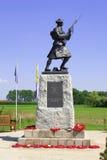 Een Standbeeld van militairww1 koninklijke Hooglanders op de gebieden België van Vlaanderen royalty-vrije stock afbeeldingen