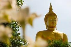 een standbeeld van zittingsBoedha tegen Royalty-vrije Stock Fotografie