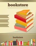Een stapel boeken op de boekenachtergrond Stock Foto