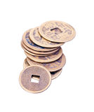 Een stapel oude Chinese muntstukken Royalty-vrije Stock Foto