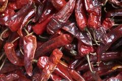 Een stapel Rode Spaanse pepers bij een voedselmarkt in Thimpu, Bhutan Royalty-vrije Stock Afbeeldingen