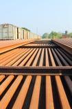 Een stapel spoorwegsporen Stock Afbeelding