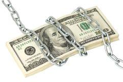 Een stapel van 100 dollars verpakte ketting Stock Afbeeldingen