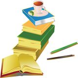 Een stapel van boeken en een kop van koffie stock illustratie