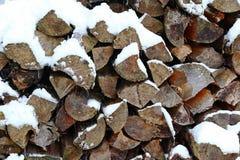 Een stapel van brandhout in de winter Royalty-vrije Stock Foto