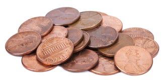 Geïsoleerdew Stapel van Pence Stock Foto's