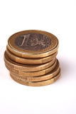 Een stapel van euro muntstukken Royalty-vrije Stock Foto's