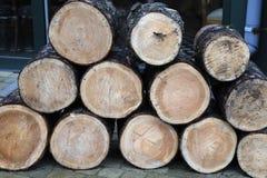 Een stapel van gekruid brandhout stock afbeelding