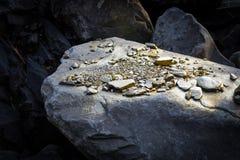 Een stapel van Gouden goudklompjekorrels, op grote riviersteen Gouden textuur royalty-vrije stock afbeeldingen