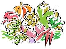 Een stapel van groenten stock illustratie