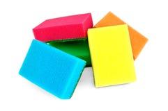 Een stapel van kleurrijke sponsen Stock Afbeeldingen