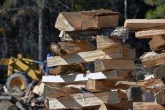 Een Stapel van Vers Besnoeiingsbrandhout stock foto's