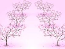 Een steeg van tot bloei komende kersenbomen vector illustratie