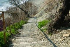 Een steentrap op een steile berghelling boven het overzees Stock Afbeeldingen