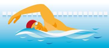 Een sterke jonge zwemmer zwemt vlug langs de afstand van c Stock Foto