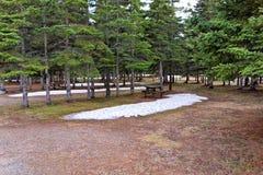 Een stil kampeerterrein in noordelijk Canada Royalty-vrije Stock Afbeeldingen